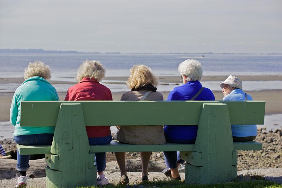 Fünf ältere Damen, in unterschiedliche Farben gekleidet, sitzen auf einer Bank am Ufer eines breiten Flußes