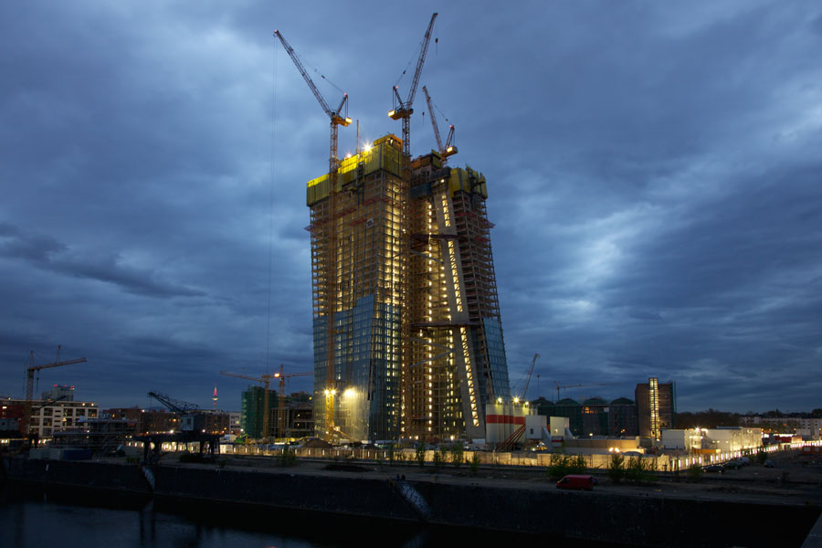 The Construction site of the European Central Bank in Frankfurt at twilight